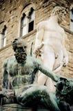 Статуя фонтана Нептуна в Флоренсе, Италии Стоковое Изображение RF