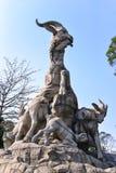 Статуя 5 штосселей в парке Yuexiu символ Гуанчжоу, Китая Стоковые Фото