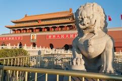 Статуя льва около строба Tienanmen (строба небесного мира).  Стоковые Изображения