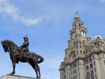 Статуя Эдварда VII с зданием печени Ливерпуля стоковые фотографии rf