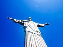 Статуя Cristo Redentor на горе Corcovado в Рио-де-Жанейро, Бразилии Стоковое Изображение RF