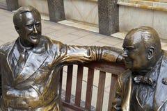 Статуя i Франклин Д. Рузвельт & Уинстона Черчилля Стоковые Фотографии RF