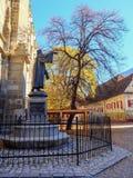 Статуя Johannes Hunteros бронзовая помещена на черной церков в Brasov, Румынии, Европе стоковое фото