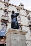 Статуя Marko Marulic, старого городка разделения, РАЗДЕЛЕНИЯ, ХОРВАТИИ стоковые изображения rf