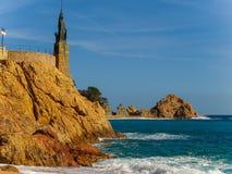 Статуя Minerva на прогулке Tossa de mar, Косты Brava, Каталонии Стоковые Фотографии RF