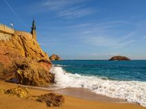 Статуя Minerva на прогулке Tossa de mar, Косты Brava, Каталонии Стоковые Изображения RF