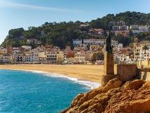 Статуя Minerva на прогулке Tossa de mar, Косты Brava, Каталонии Стоковая Фотография RF