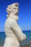 Статуя Poseidon, пляж Plaka, остров Закинфа Стоковые Изображения