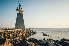 Статуя St Nicholas в старом городке Nessebar, побережье Чёрного моря, Болгарии Стоковые Фотографии RF