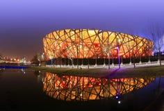 Стадион гнезда птицы Пекина в вечере Стоковые Изображения
