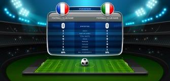 Стадион и фара в реальном маштабе времени доски счета передвижного футбола иллюстрация штока