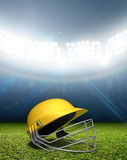 Стадион и шлем сверчка Стоковая Фотография