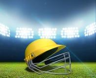 Стадион и шлем сверчка Стоковые Изображения