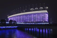 Стадион на ноче, Гуанчжоу Азиатских игр, Китай Стоковые Фото