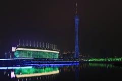 Стадион на ноче, Гуанчжоу Азиатских игр, Китай Стоковое Изображение