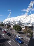 Стадион футбола и рэгби парка AAMI на улице Мельбурне лебедя стоковое фото