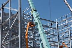Стальная конструкция промышленного здания под конструкцией Стоковое Изображение RF