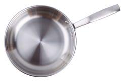 Стальная сковорода изолированная на белой предпосылке Стоковые Изображения RF