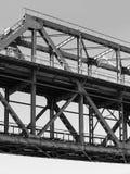 Стальная часть крупного плана строительства моста ферменной конструкции Стоковое Изображение