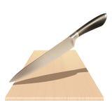 Стальной нож и деревянная доска Стоковые Фотографии RF