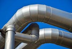 Стальной трубопровод электростанции стоковое изображение rf