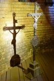 Стальной христианский крест Стоковая Фотография