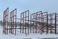 Стальные балки на строительной площадке Стоковая Фотография