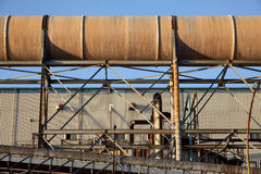 Стальные трубы электростанции Стоковые Изображения