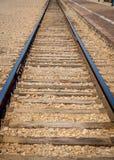 Стальные trackes поезда на депо Стоковые Изображения