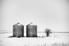 2 стальных зернохранилища Стоковое Фото