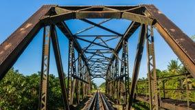 Сталь моста поезда в Таиланде Стоковые Изображения