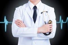 Створка стойки доктора one оружия изолированные на черной предпосылке Стоковое Изображение RF