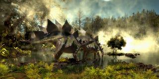 Стегозавр в болоте стоковое фото rf