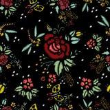 Стежки вышивки с розами, безшовной картиной иллюстрация штока