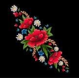 Стежки вышивки с цветками Стоковое Изображение RF