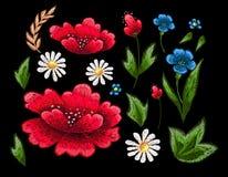 Стежки вышивки с цветками Vector орнамент вышитый модой для ткани, украшения ткани Стоковое фото RF