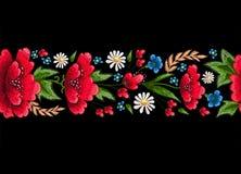 Стежки вышивки с цветками Vector орнамент вышитый модой для ткани, украшения ткани Стоковое Изображение