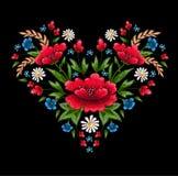 Стежки вышивки с цветками Vector орнамент вышитый модой для ткани, украшения ткани Стоковое Фото