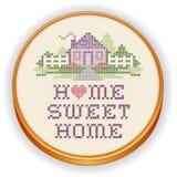 Стежок вышивки домашний сладостный домашний перекрестный, деревянный обруч иллюстрация вектора