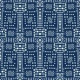 Стежок японского стиля сини индиго выравнивает безшовную картину вектора вычерченная рука иллюстрация вектора