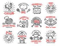 Стейки знаков значков мясных продуктов на гриле барбекю бесплатная иллюстрация