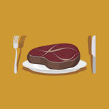 Стейк говядины Столовый прибор: нож и вилка также вектор иллюстрации притяжки corel Стоковые Фотографии RF