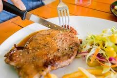стейк зажженный говядиной Стоковая Фотография RF