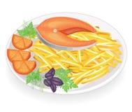 Стейк красной рыбы на плите Зажаренный гарнир potatoesgreen петрушки, укропа и базилика Очень вкусная, уточненная и питательная е бесплатная иллюстрация