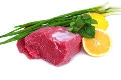 стейк ломтика лука лимона отрезока говядины стоковые фотографии rf