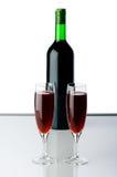 Стекла бутылки и вина Стоковое Изображение RF