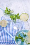 2 стекла воды и свежей зеленой мяты, и известки На голубой салфетке на деревянной предпосылке Открытый космос для текста или откр Стоковые Изображения