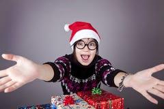 стекла девушки подарков рождества смешные Стоковые Фото