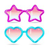 Стекла диско стиля стекел в форме сердец и звезды в фиолетовом и голубом Стоковые Фото