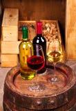 Стекла и бутылки красного и белого вина на старой несутся винный погреб Стоковые Изображения RF